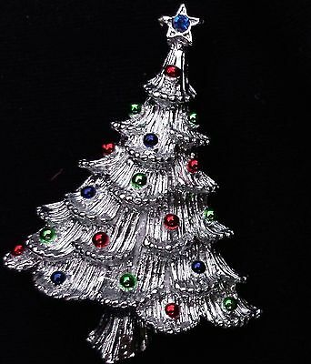GERRY Silver signed Christmas Tree blue red green Rhinestone Pin Brooch Jewelry