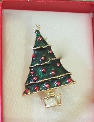 Gerry Enamel Christmas tree red ornaments planter Pin Brooch Vintage Jewelry