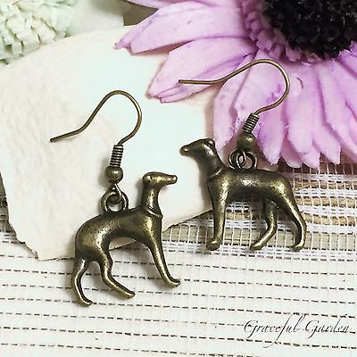 ER2875 Graceful Garden Vintage Style Small Greyhound Dog Puppy Charm Earrings