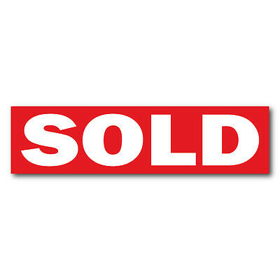 """SOLD Real Estate Sign Stickers 11.5"""" x 3"""" Weatherproof Vinyl, Red, Pack of 100"""