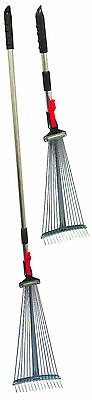 TELESCOPIC FOLDING GARDEN LEAF RAKE - head folds in and handle is telescopic