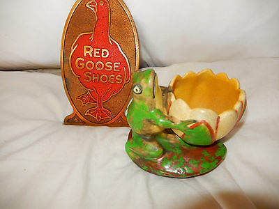 Weller Pottery Coppertone Frog With Lily Pad Vase Candle Holder Free Shipping !!