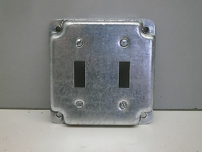 """Steel City RS-5 4"""" Square Cover 1/2"""" High for Two Toggle Switches Crushed Corner"""