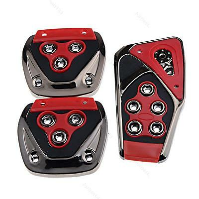 Red Black #F Car Manual Brake Gas Clutch Racing Pedal Pads Cover Set Universal