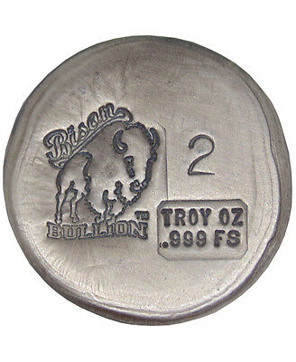 2 Troy Ounce .999 Silver Bison Bullion Round American USA Made Hand Poured Bar