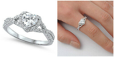 Sterling Silver 925 HEART LOVE KNOT CLEAR CZ DESIGN PROMISE RING 8MM SIZES 4-12