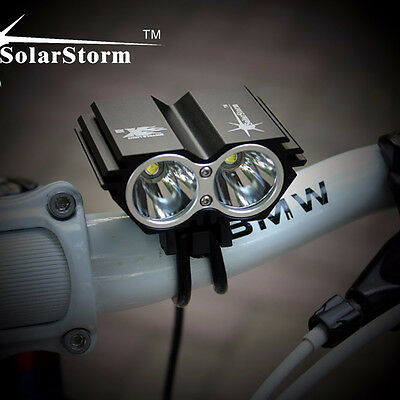 SolarStorm 8000LM CREE XM-L T6 LED Bicycle Torch Headlight +6400mAh Battery Pack