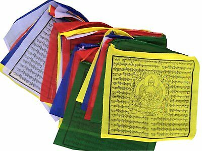"Medicine Buddha Tibetan Prayer Flags From Nepal (9""x9.5)"