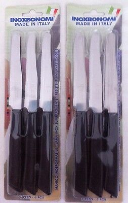 12 High Quality Serrated Edge Steak Knives Inoxbonomi Knife Made in Italy  New