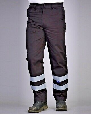 Yoko Reflective Work Wear Trousers Hi Vis Strips Mens Pants Twill Fabric (YK015)