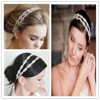 Premium White Satin Ribbon Crystal Beaded Hair Headband Headpiece Wedding Bridal