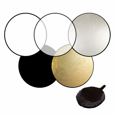 """60"""" 5-in-1 Photography Studio Multi Photo Disc Collapsible Light Reflector ~#"""