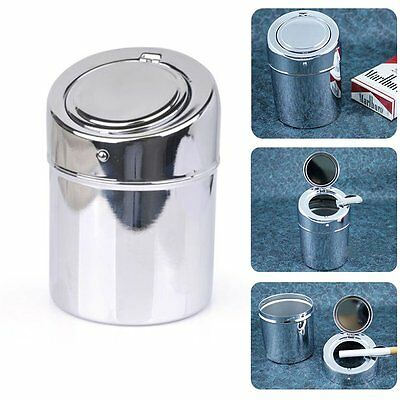 Portable Stainless Steel Cigarette Ashtray Smokers Ash Tobacco Tray Container