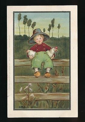 Artist Children  IVY MILLICENT JAMES boy on fence with chickens used 1909 PPC