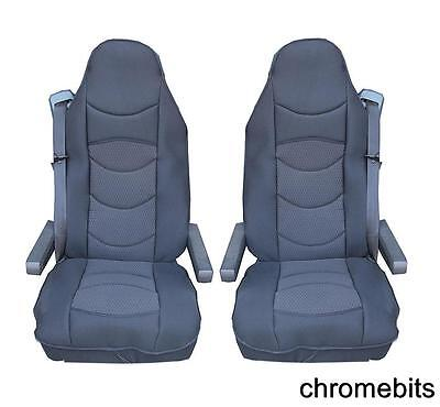 2 Pcs Black Comfort Padded Seat Covers Cushioned For Volvo 16 Fh16 Fh12 Fl Fe Fm