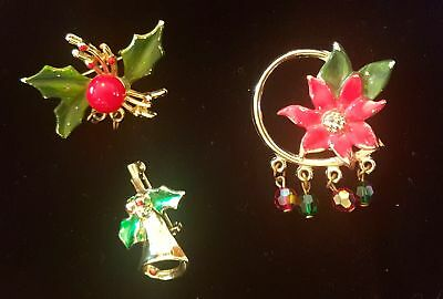 Christmas Enamel Pins Poinsettia Bell Holly Brooch Vintage Jewelry set of 3