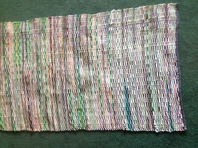 """RAG RUG/AMISH/ AWSOME/28""""x56""""..shades of green beautiful hit and miss LOOM WOVEN"""
