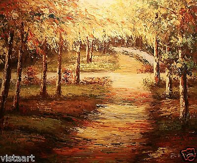 "High Quality Oil Painting on Stretched Canvas 20x24"" Stunning Trees in Park"