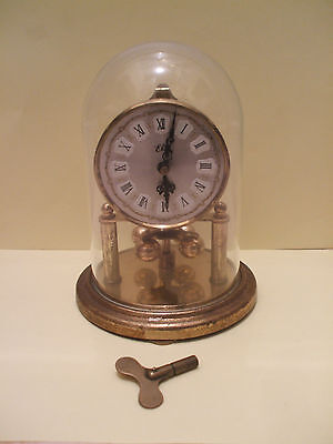 Bentima German Anniversary Winding Movement Mantle Clock with Glass Dome