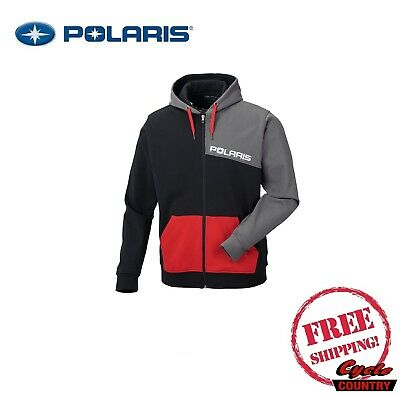 Polaris Men's Color-Blocked Hoodie Zip Fleece Lined Black Gray Red Rzr Rmk Ace