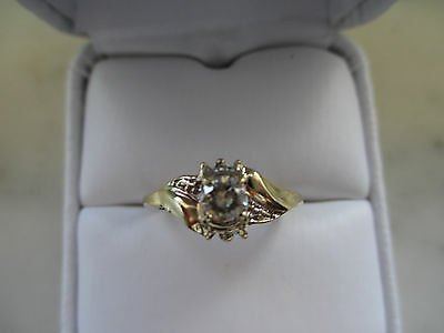 Antique Russian Style engagement 10k Yellow GOLD 1.14Ct Off White DIAMOND RING