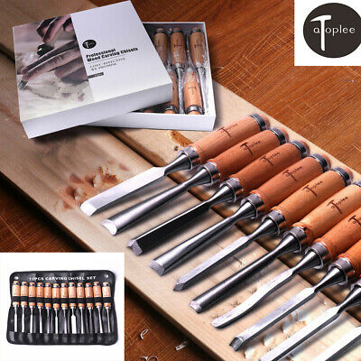 12pcs Professional Wood Carving Chisels Hand Tools Kit w Alloy steel blade in AU