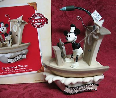 Hallmark 2003 Sound & Motion Disney's Mickey Mouse Ornament~Steamboat Willie
