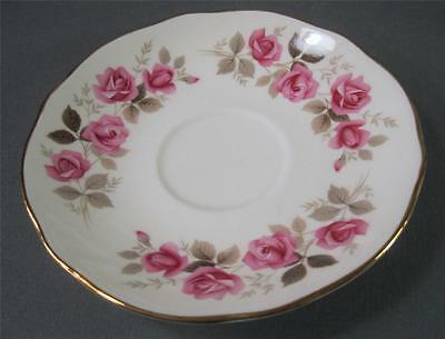 Shabby vintage Duchess English bone china saucer Silver Rose 310 -gilt