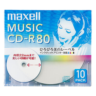 10 Maxell JAPAN Blank CD-R for Audio Music CDR 80min White Label CDRA80WP.10S