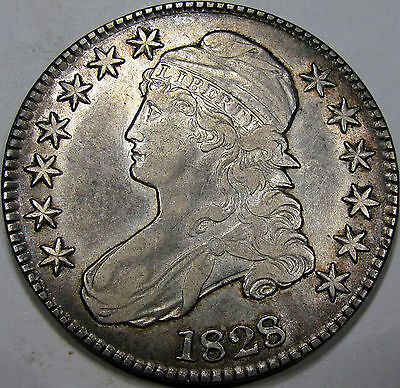 1828 O-120 Capped Bust Half Dollar Abt. AU...Flashy with Nice Album Toning, NEAT