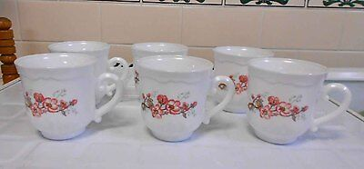Vintage Arcopal Milk Glass 'Dogwood' Cups 6 in total