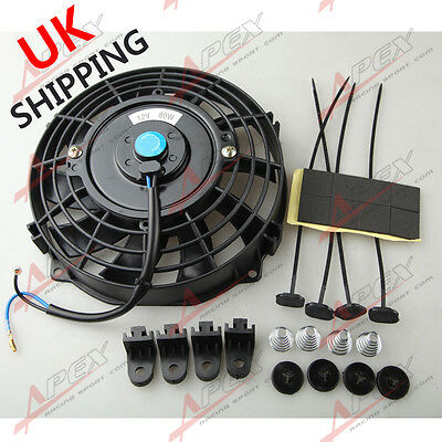 """Universal 7"""" Radiator Electric Cooling Curved S-Blade Reversible Muscle Car UK"""