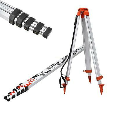 New Portable 1.6M Aluminum Tripod + 5M Staff For Rotary Laser Level