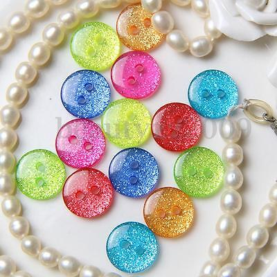 50Pcs Mixed Colours Round Glitter Sparkly Buttons Two Holes For DIY Craft Decor