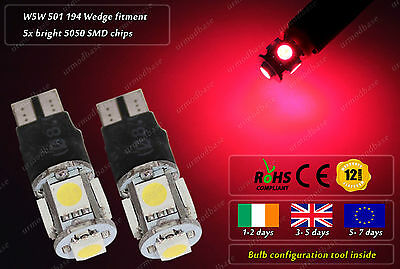 2x LED T10 W5W 501 Red Strobe HID Police Wedge Bulbs Car Side Lights Lamps 12V