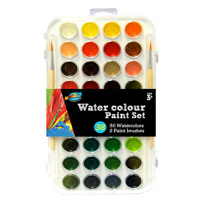 Semi-Dry Watercolour Palette Stylist 36 Colors & Brush Good Pigment Artist Paint