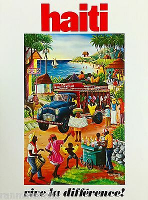 Haiti Caribbean Island Vive la difference Vintage Travel Advertisement Poster