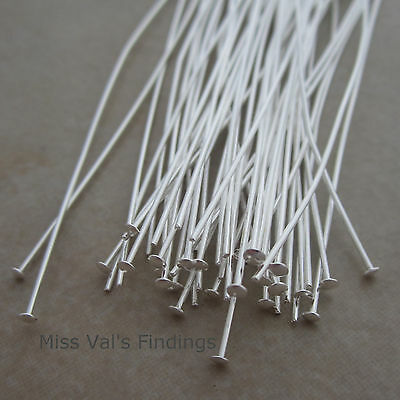 100 silver plated brass jewelry headpins 4 inch 21 gauge