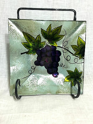 Vineyard Grape Plate - SQUARE - Handmade and Hand-Painted