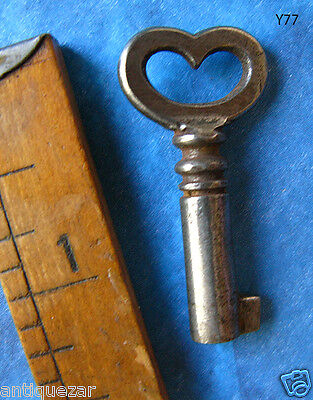 GENUINE Romantic Antique Skeleton Key w/ Heart Bow - More Rare Old Keys Here