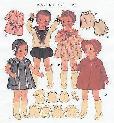 """1919 Vintage Chubby Doll Pattern - Size 16"""" - Year 1933"""