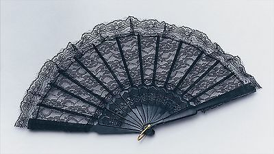 Black Lace Spanish Victorian Gothic Hand Fan Fancy Dress Accessory