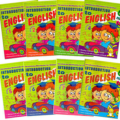 Introduction to English 8 Fun Learning Activity Workbooks Children Learn & Write