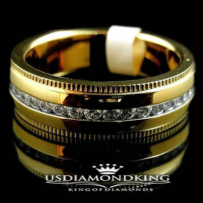 Men's Women's 14K Yellow Gold Wedding Band Ring Stainless Steel Lab Diamonds