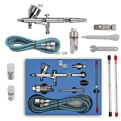 Airbrush Kit Dual Action 0.2/0.3/0.5mm Needle Air Brush Spray Gun 9cc Paint Art