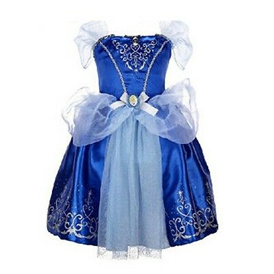 Girls Cinderella Fancy Dress Costume Kids Princess Outfit UK Ages 2/3/4/5/6/7/8
