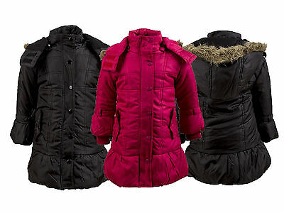 Lovely Girls Pink Black Hooded Padded Winter Fur Trim Jacket  Age 2 3 4 6 7 - 14