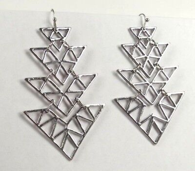 "E+1136, 2 1/2""x1 1/2"" Four hanging Triangle style silver alloy ladies earrings"