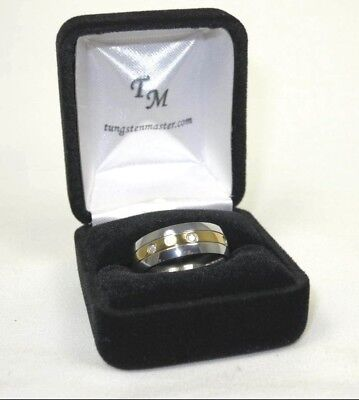 R+0070, Gentlemens Band Ring in Titanium and 14K Yellow gp Sz 10