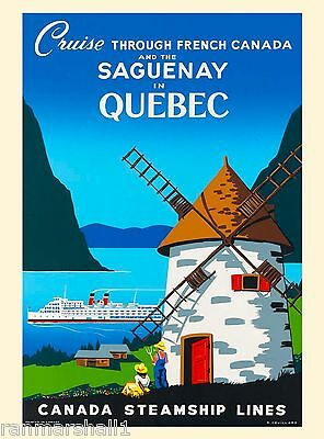 Saguenay in Quebec Vintage Canada Canadian Pacific Travel Advertisement Poster